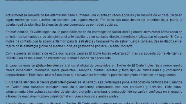 El Corte Inglés también atiende vía Twitter