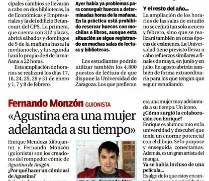 Fernando Monzón guionista del cómic Agustina