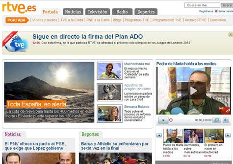 Agustina en la portada de RTVE.es