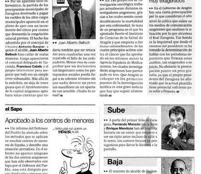 """Fernando Monzón sube en """"El Periódico de Aragón"""""""